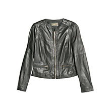 Buy Mango Collarless Leather Jacket, Black Online at johnlewis.com