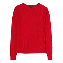 Buy Mango Cable Knit Jumper, Bright Red Online at johnlewis.com
