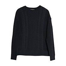 Buy Mango Cable Knit Cotton Sweater, Navy Online at johnlewis.com