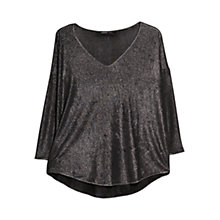 Buy Mango Metallic Top, Black Online at johnlewis.com