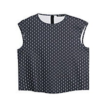 Buy Mango Monochrome Printed Top, Black Online at johnlewis.com