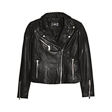 Buy Mango Textured Panel Leather Biker Jacket, Black Online at johnlewis.com