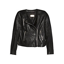 Buy Mango Quilted Leather Jacket, Black Online at johnlewis.com
