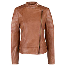 Buy Mango Leather Biker Jacket, Dark Brown Online at johnlewis.com