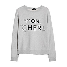 Buy Mango Embellishment Text Sweatshirt, Light Pastel Grey Online at johnlewis.com