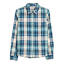 Buy Mango Chest Pocket Checked Cotton Shirt, Medium Blue Online at johnlewis.com