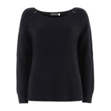 Buy Mint Velvet Sheen Zip Shoulder Sweater, Navy Online at johnlewis.com
