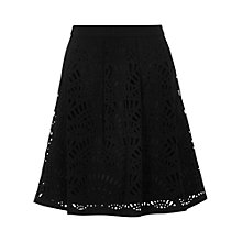 Buy Reiss Karlotta Laser Cut-Out A-Line Skirt, Black Online at johnlewis.com