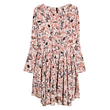 Buy Mango Long Sleeved Floral Print Dress, Light Pastel Brown Online at johnlewis.com