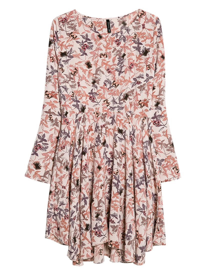 mango long sleeved floral print dress light pastel brown, mango, long, sleeved, floral, print, dress, light, pastel, brown, clearance, womenswear offers, womens dresses offers, women, inactive womenswear, new reductions, womens dresses, special offers, 1656114