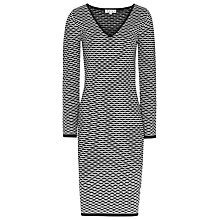 Buy Reiss Ford Fitted Print Dress, Black/Cream Online at johnlewis.com