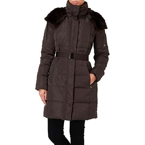 Buy Phase Eight Freya Puffa Coat, Bitter Chocolate Online at johnlewis.com