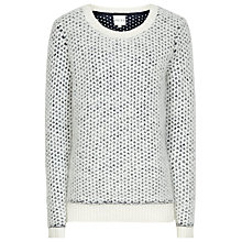 Buy Reiss Torryn Oversized Textured Jumper, Cream/Navy Online at johnlewis.com