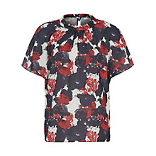 Buy Reiss Ginette Floral-Print Collared Top, Winter Roseprint Online at johnlewis.com