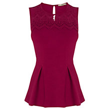 Buy Oasis Lace Detail Peplum Sleeveless Top, Berry Online at johnlewis.com
