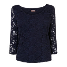 Buy Phase EIght Lillie Lace Scooped Neck Top, Navy Online at johnlewis.com