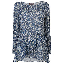 Buy Phase Eight Floral Faryl Frill Top, Navy/Grey Online at johnlewis.com