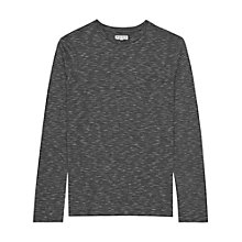 Buy Reiss Million Stripe Crew Neck Long Sleeve T-Shirt, Charcoal Online at johnlewis.com