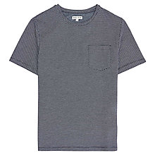 Buy Reiss Dazzler Micro Check Print Short Sleeve T-Shirt, Navy Online at johnlewis.com