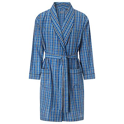 John Lewis Classic Check Cotton Dressing Gown, Blue
