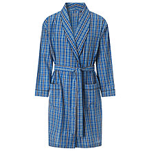 Buy John Lewis Classic Check Cotton Dressing Gown, Blue Online at johnlewis.com