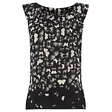 Buy Oasis Butterfly Border Shell Top, Black/White Online at johnlewis.com