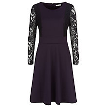 Buy Kaliko Lace Sleeve Dress, Dark Purple Online at johnlewis.com