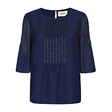 Buy Havren Pintuck Beaded Top, Deep Blue Online at johnlewis.com