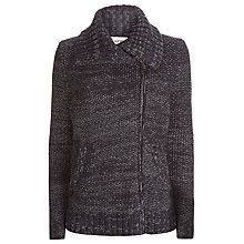 Buy Havren Knitted Cotton Biker Jacket, Charcoal Online at johnlewis.com