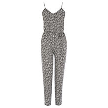 Buy Oasis Mono Fern Print Jumpsuit, Black/White Online at johnlewis.com