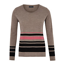 Buy Viyella Stripe Merino Jumper, Mink Online at johnlewis.com