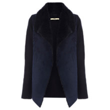 Buy Oasis Faux Shearling Drape Cardigan, Navy Online at johnlewis.com
