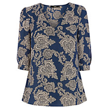 Buy Oasis Paisley Print Tegan Top, Multi/Blue Online at johnlewis.com
