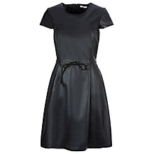 Buy Kaliko Leather Skater Dress, Black Online at johnlewis.com