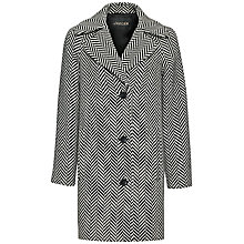 Buy Jaeger Graphic Herringbone Wool Coat, Black/White Online at johnlewis.com