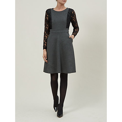 Buy Kaliko Lace Sleeve Dress, Charcoal Online at johnlewis.com