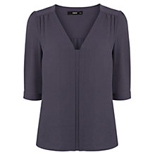 Buy Oasis Plain Nicky Tuck Sleeve Top, Mid Grey Online at johnlewis.com