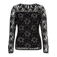 Buy Kaliko Two Colour Lace Top, Black Online at johnlewis.com