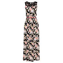 Buy Oasis Trimmed Oriental Maxi Dress, Multi/Black Online at johnlewis.com