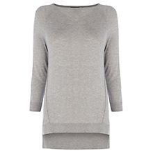 Buy Warehouse Exposed Seam Boxy Crew Top, Light Grey Online at johnlewis.com