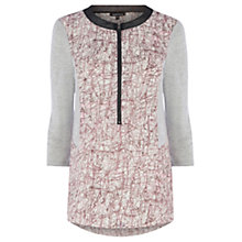 Buy Warehouse Printed Jersey Mix Zip Blouse, Pink Pattern Online at johnlewis.com