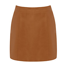 Buy Warehouse Leather A-Line Skirt, Tan Online at johnlewis.com