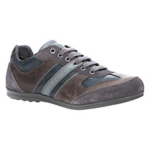 Buy Geox Houston Leather Trainers, Charcoal Online at johnlewis.com