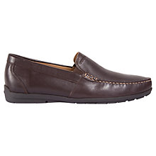 Buy Geox Simon W Leather Moccasins, Brown Online at johnlewis.com