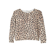 Buy Mango Kids Girls' Leopard Print Jumper, Brown Online at johnlewis.com