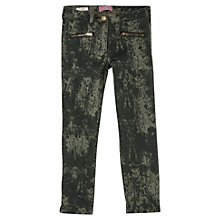 Buy Mango Kids Girls' Super Skinny Zip Denim Jeans, Black/Green Online at johnlewis.com