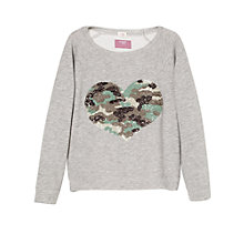Buy Mango Kids Sequin Heart Sweatshirt, Grey Online at johnlewis.com