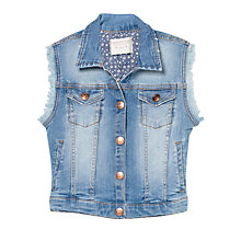 Buy Mango Kids Medium Wash Denim Sleeveless Jacket, Denim Online at johnlewis.com
