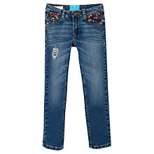 Buy Mango Kids Girls' Slim-Fit Sequin Detail Denim Jeans, Navy Online at johnlewis.com