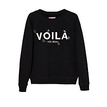 Buy Mango Kids Girls' French Slogan Sweatshirt,Black Online at johnlewis.com